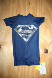 New Superman Navy blue and Silver swimsuit – Still with tags