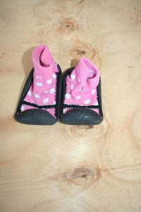 Pink and black sock  shoes – Size 3-6/6-12 months